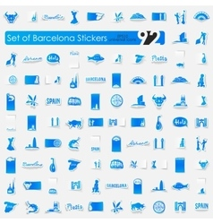 Set of barcelona stickers vector