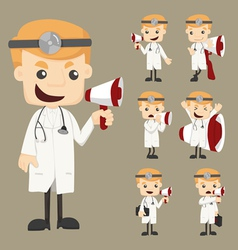 Set of doctor with loud speaker vector image vector image