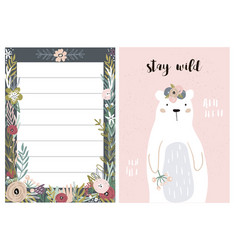 set of greeting cards with cute animal and forest vector image