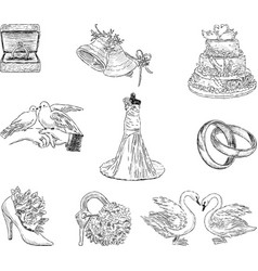 set of the wedding symbols vector image