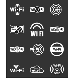 Set of twelve wifi icons vector