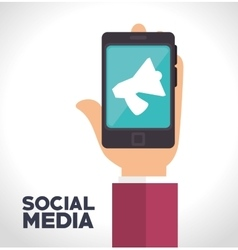 Smartphone megaphone social media isolated icon vector