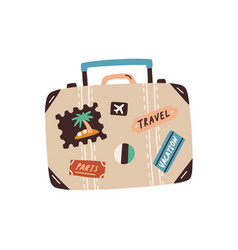 suitcase decorated with stickers and badges vector image