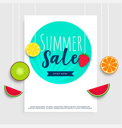 summer sale banner with hanging fruits vector image