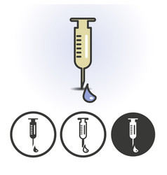 Syringe with drop icon vector
