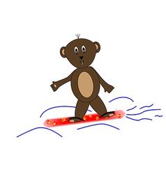 Teddy bear on snowboards vector