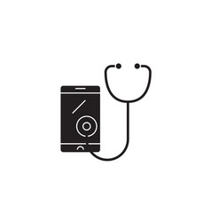 telemedicine black concept icon vector image