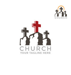 Template logo for churches mountain calvary vector
