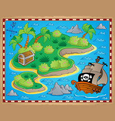 Theme with island and treasure 2 vector