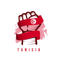 Tunisia hand and flag template design vector