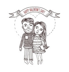 valentine day card with cartoon style boy and girl vector image