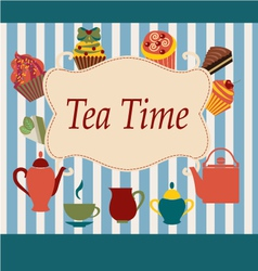 vintage Background of Tea Time - vector image