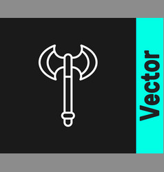 white line medieval axe icon isolated on black vector image
