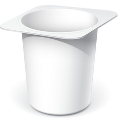 White plastic container for yogurt vector