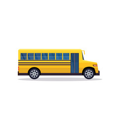 yellow retro bus back to school pupils transport vector image