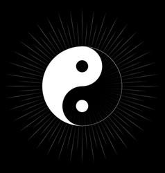 yin yang symbol on light burst vector image