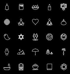 Zen society line icons on black background vector
