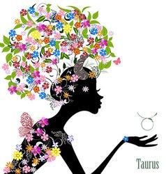 Zodiac sign taurus fashion girl vector image