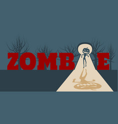 zombie comes into the house vector image vector image