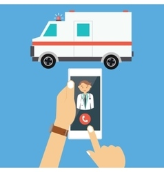 call ambulance car doctor mobile phone emergency vector image