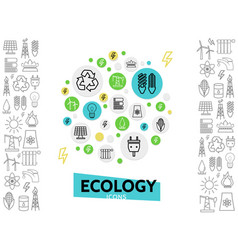 ecology line icons concept vector image vector image
