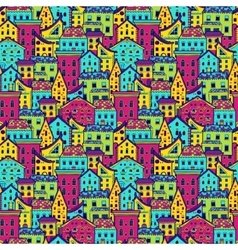 Houses Pattern Big Color vector image vector image
