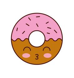 kawaii donut dessert pastry product food fresh vector image