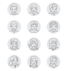 Kid avatar set thin line vector image vector image