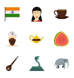 travel to india icon set flat style vector image