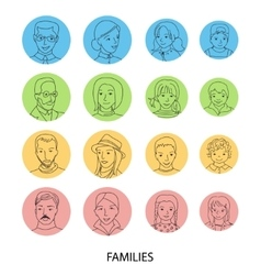 Families avatar set thin line vector image vector image
