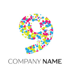Number nine logo with blue yellow red particles vector