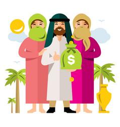 polygamy saudi man and his harem flat vector image vector image