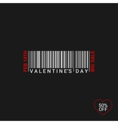 Valentines Day Bar Code Logo Background vector image