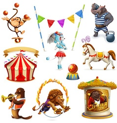 Circus funny animals set of icons mesh vector image vector image