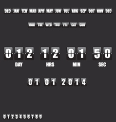Countdown Timer and Date on black background vector image vector image