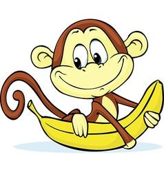 Cute monkey hold banana - vector