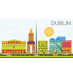 Dublin Skyline with Color Buildings and Blue Sky vector image vector image
