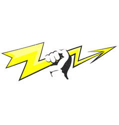 lightning in the hand vector image