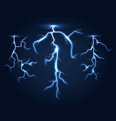 realistic lightnings set dark night sky vector image