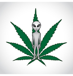 Et and cannabis leaf vector