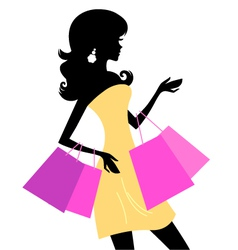 Shopping retro girl vector image vector image
