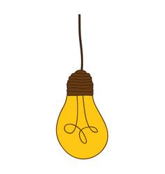 Silhouette of yellow light bulb pendant vector
