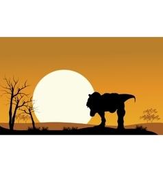 tyrannosaurus with sun scenery vector image vector image