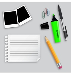 Various office supplies on business theme vector image