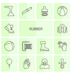14 rubber icons vector