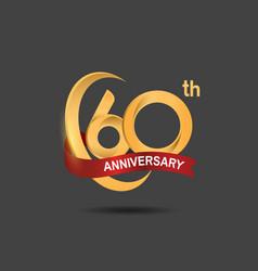 60 anniversary design logotype golden color vector