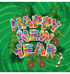 Abstract Happy New Year green background vector image