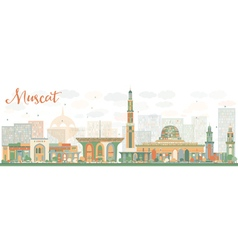 Abstract Muscat Skyline with Color Buildings vector
