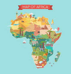 africa tourist map with famous landmarks vector image