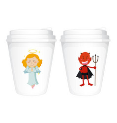 Angel and devil design on paper cups vector